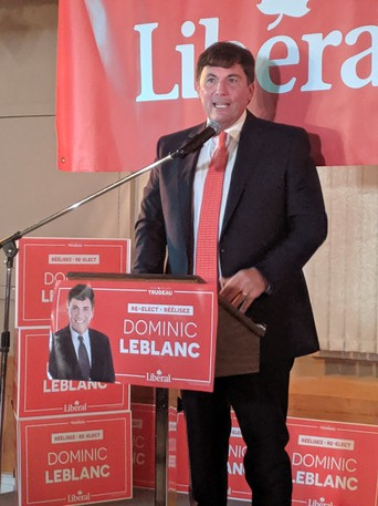 Dominic LeBlanc, the Liberal candidate for Beauséjour, celebrates his victory with supporters in Shediac on Monday night.