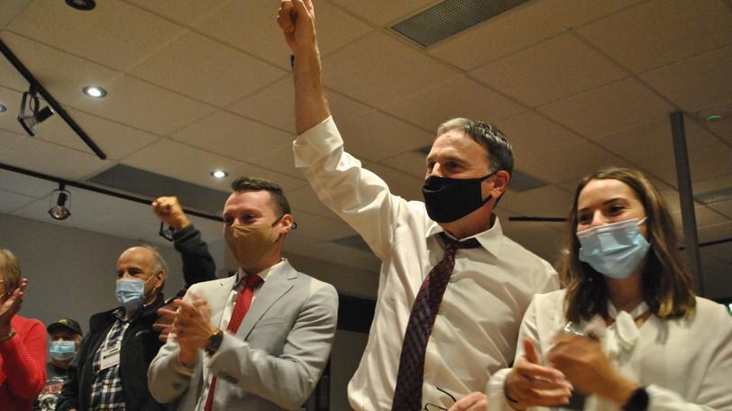Incumbent LiberalRené Arseneault celebrates his victoryin the riding of Madawaska-Restigouche at his Edmundston headquarters on Monday night.