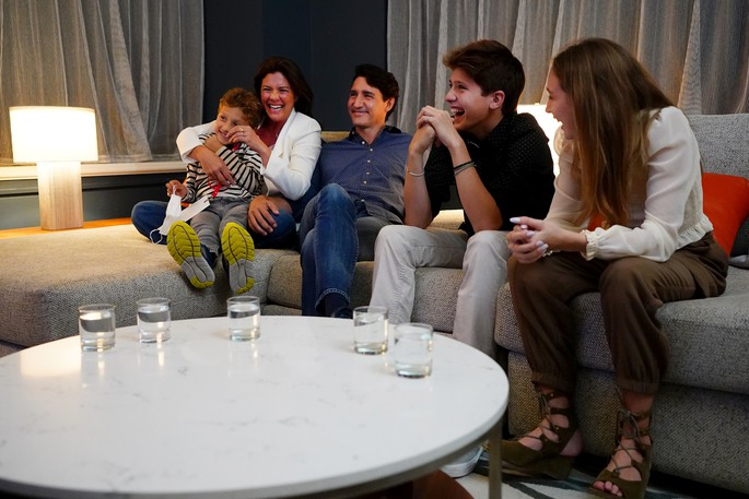 Liberal Leader Justin Trudeau watches election results with wife Sophie Gregoire-Trudeau and children, Xavier, Ella-Grace and Hadrien, at Liberal headquarters in Montreal, Monday.
