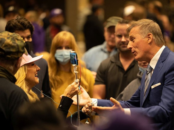 People's Party of Canada Leader Maxime Bernier speaks with supporters in Saskatoon on Monday night.