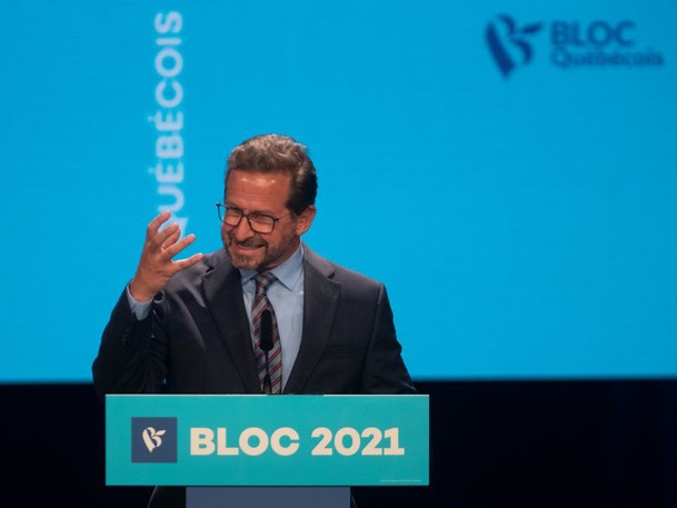 Bloc Quebecois leader Yves-Francois Blanchet speaks at Centre Pierre-Peladeau in Montreal on Tuesday, Sept. 21, 2021.