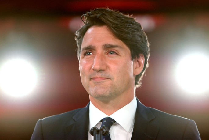 Prime Minister Justin Trudeau is pictured at an election night event Monday evening.