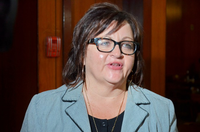 Miramichi-Grand Lake Liberal candidate Lisa Harris speaks to reporters Monday at the Black Horse Tavern after being defeated by Conservative rival Jake Stewart.