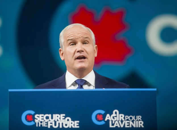 Conservative Leader Erin O'Toole addresses supporters at the Tribute Communities Centre Arena in Oshawa, Ont., following the federal election on Sept. 21, 2021.