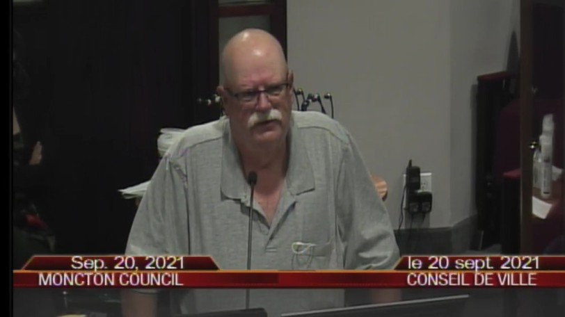 Ian Gunn, president of the Elmwood Cemetery, raised concerns about snow from a planned development contributing to flooding during a public hearing at Moncton city council on Monday, Sept. 20, 2021.