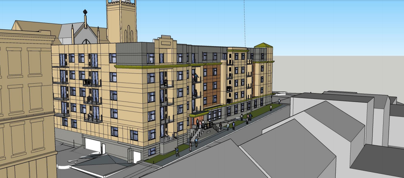A design rendering for the 56-unit mixed use building proposed for 31 Cliff St. Of the residential units, half will be subsidized.