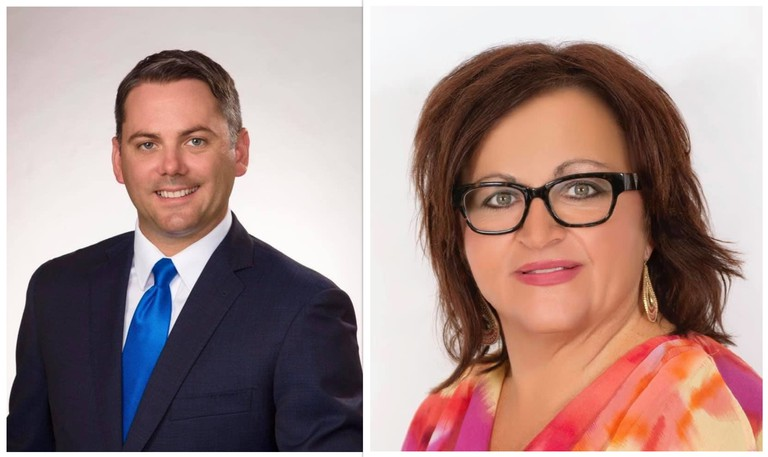 Miramichi-Grand Lake Conservative candidate Jake Stewart, left, was leading Liberal rival Lisa Harris by 1,525 votes after 157 of 158 polls from Monday's federal election reported results. Elections Canada officials expect mail-in ballot counting will begin Wednesday.