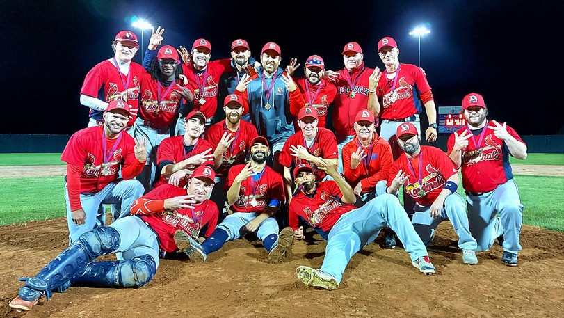 The Dieppe Cardinals celebrate their third New Brunswick intermediate A baseball championship in a row, this time thanks to a 4-1 victory over Fredericton's Jack's Pizza Expos on Tuesday at Royals Field in Fredericton. The final started nine days earlier in Chatham Head, but was rain-delayed in the bottom of the second inning with Dieppe leading 1-0.