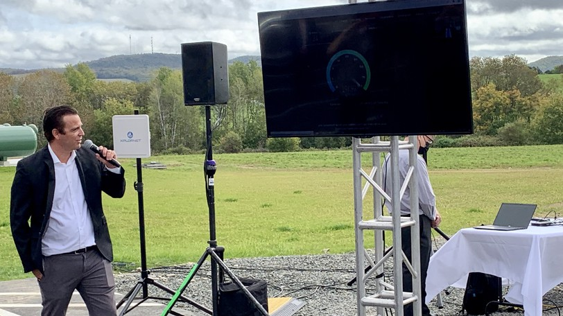 A live test shows download speeds of 202Mbps on Xplornet's new rural 5G standalone network during a press conference in Florenceville-Bristol on Wednesday.