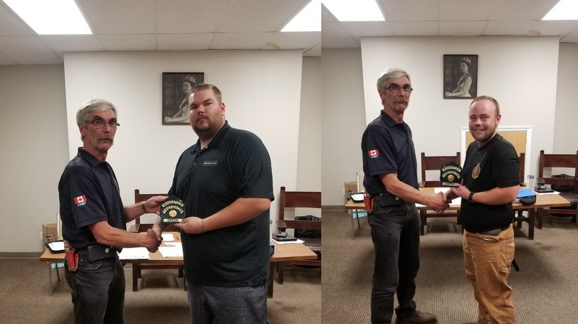 Three members of the Woodstock Fire Department have earned their level one certification. Pictured are Spencer Todd Green, left and  Bradley Campbell, right with chief Harold McLellan. Not pictured is Mark Whelan.