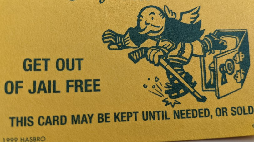 """A """"Get out of jail free"""" card from NHL Monopoly."""