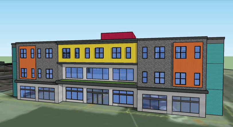 A preliminary rendering of the mixed-use commercial and supportive housing building proposed for Waterloo Street.