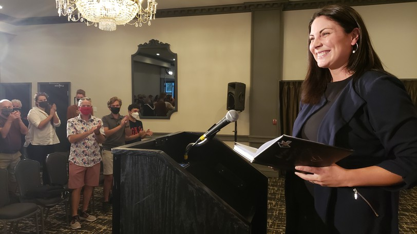 Liberal Jenica Atwin, the newly re-elected MP for Fredericton, savours her victory at the Crowne Plaza Lord Beaverbrook Hotel on Wednesday.