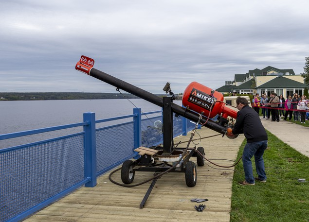 The big canon is loaded with a pumpkin before a launch at the Association of Professional Engineers and Geoscientists of New Brunswick's 2019 Fall Harvest Pumpkin Fling at Waterford Green Park. This year's event is Saturday from 9 a.m. to 4 p.m.