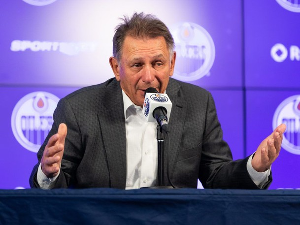Edmonton Oilers general manager and president of hockey operations Ken Holland speaks during media interviews on the opening day of Edmonton Oilers Training Camp at Rogers Place in Edmonton, on Wednesday, Sept. 22, 2021.