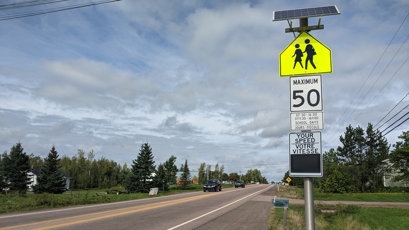 A traffic speed sign near Magnetic Hill School northwest of Moncton city limits.
