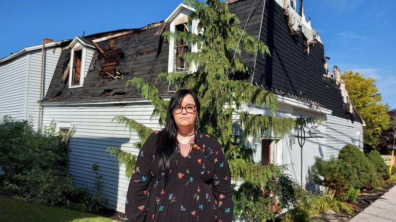 Hampton resident Ashley Belding said she watched an early morning fire tear through Reid's Funeral Home Thursday.