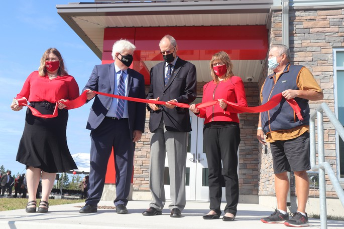 UNBSJ Student Representative Council president Charlotte Fanjoy, UNB president Paul Mazerolle, chemistry professor Barry Beckett and UNB vice-president Saint John Petra Hauf are pictured here at the grand opening of a new student residence at UNBSJ.