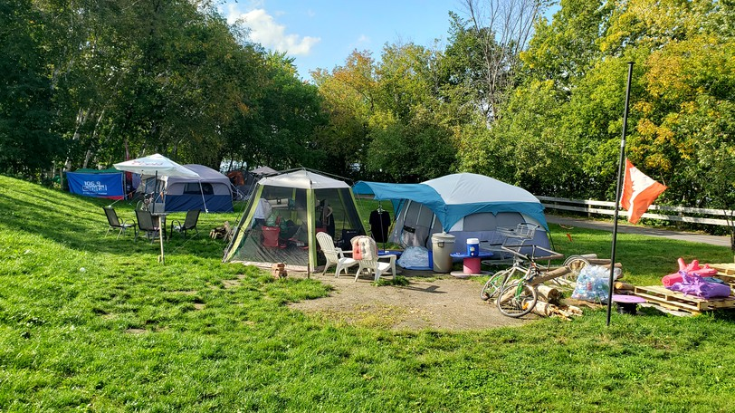 A micro-site for the homeless behind the Victoria Health Centre. Fredericton Police Chief Roger Brown says he wants to all such tent cites in the city closed by the end of November, with residents finding beds safely indoors.