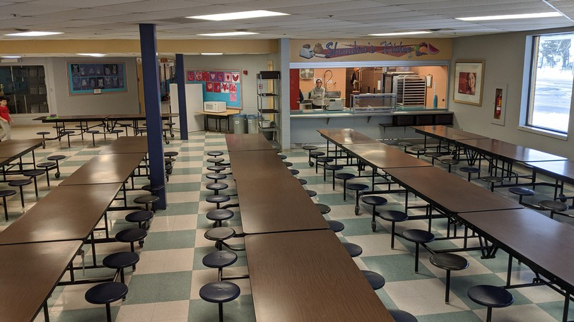 The cafeteria inside Shediac Cape School. The K-8 school was closed Friday due to a COVID-19 case.