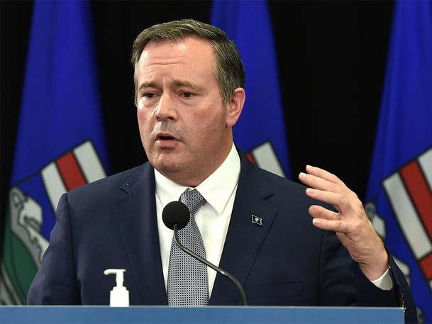 Premier Jason Kenney answering questions on the cabinet shuffle appointing Jason Copping as the new Minister of Health during a news conference in Edmonton, September 21, 2021.