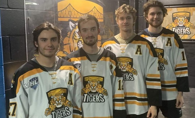 On Sept. 22, the Campbellton Junior A Tigers named their captains and alternate captains for the 2021-2022 Maritime Hockey League season. From left are Ludovic Harrisson (alternate captain), Frédéric Castonguay (co-captain), Jordan Brière (alternate captain) and Liam Best (co-captain).