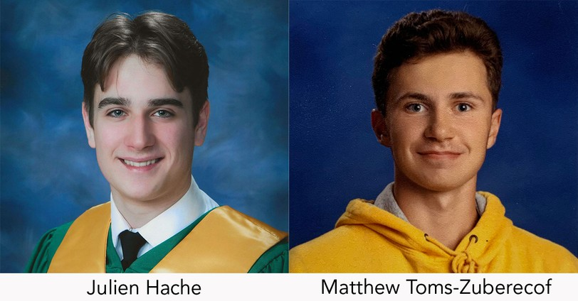 Julien Hache of Miramichi, left, and Matthew Toms-Zuberec of Calgary won prestigious Schulich Leader Scholarships worth $100,000 and $80,000, respectively.