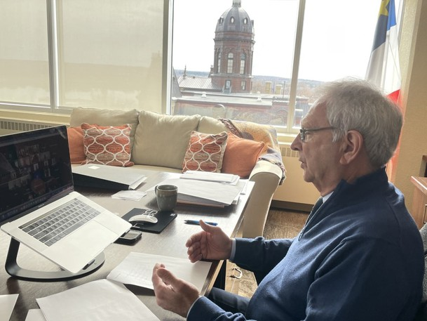 Premier Blaine Higgs takes part in a virtual meeting in this file photo