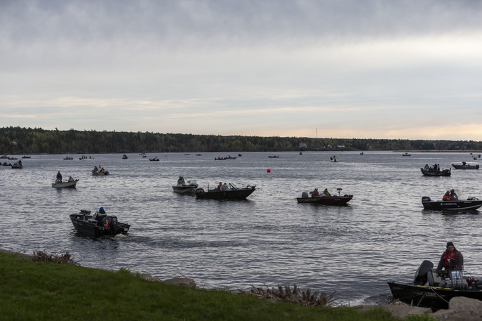 A fleet of anglers wait for the shotgun start on the Miramichi River during the 2019 Striper Cup. The sportfishing derby and City of Miramichi will co-host the Frightful Fishing Classic tournament from Oct. 10 to 24.