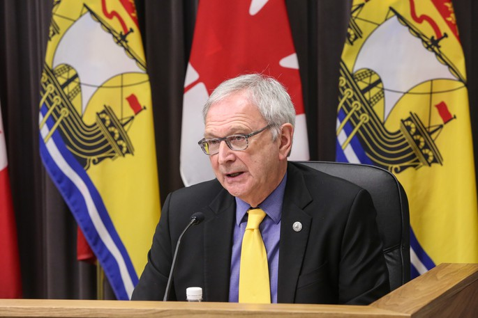 Premier Blaine Higgs is pictured at a recent press conference.