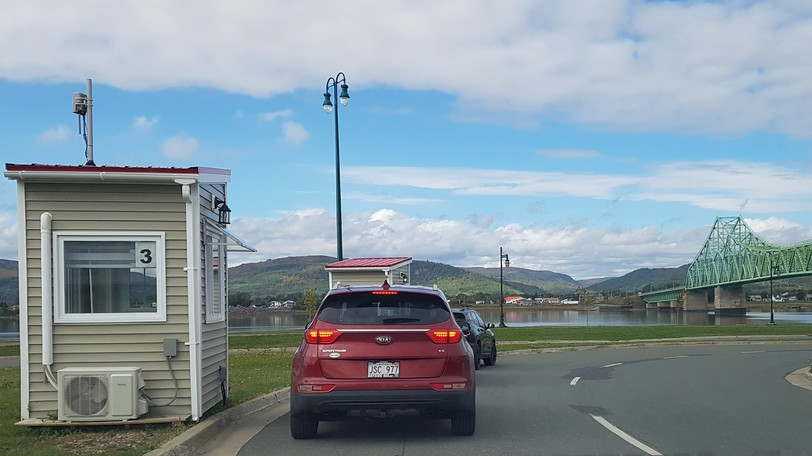 """An """"educational""""checkpointwas in place at the New Brunswick side of the J. C. Van Horne Bridge in Campbellton on Saturday. Although proof of travel registration and proof of identity were not requested, proof of full vaccination was."""