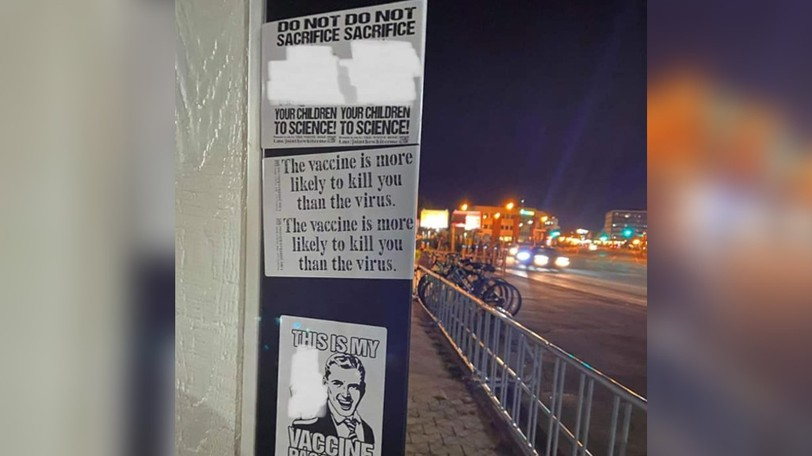 The Tide and Boar posted a photo on its Facebook page Saturday showing stickers bearing anti-vaxx slogans after a group of people staged a protest outside the brewpub during the evening on Friday, Sept. 24, 2021.