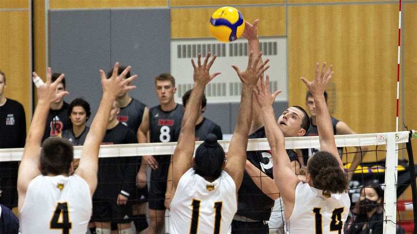UNB Reds' Nick Glynn has one of his 15 kills as the Reds outlasted the Dalhousie Tigers 3-2 in university men's volleyball exhibition action Saturday night at the Richard J. Currie Center. Dal won Sunday's rematch, 3-2.