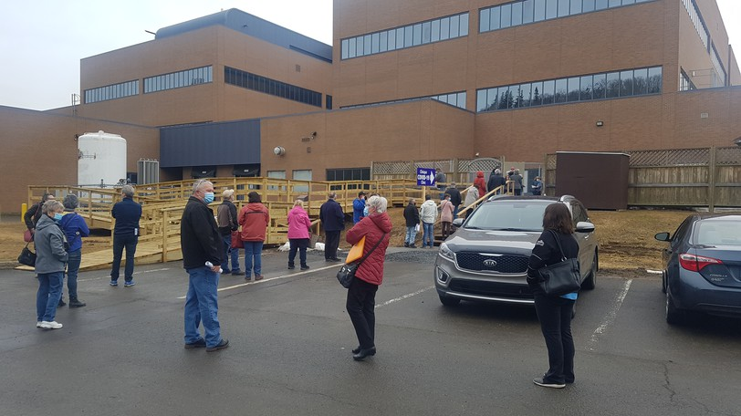 Lining up for a COVID-19 vaccination clinic in Campbellton. Public Health announced on Sept. 26 there were two new cases of the virus in Zone 5, the eastern Restigouche Region, that day.