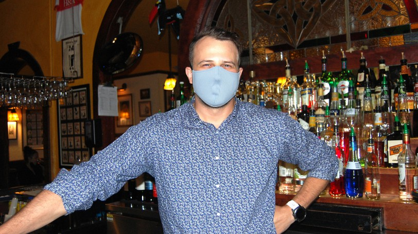 Todd VanIderstine, general manager at the Old Triangle Irish Alehouse, pictured at the downtown Moncton bar on Sunday, says staff have experienced some 'verbal harassment' from customers since new public health regulations came into effect.