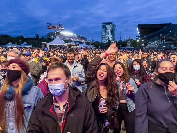 Fans were happy to be back enjoying live music again at the three-day pandemic Bluesfest bash at Lansdowne Park. Above, The Barenaked Ladies wowed fans on Friday night.