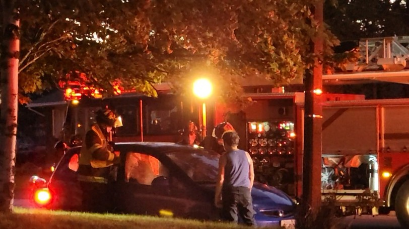 A woman was sent to hospital following a single vehicle crash in Moncton Sunday night.