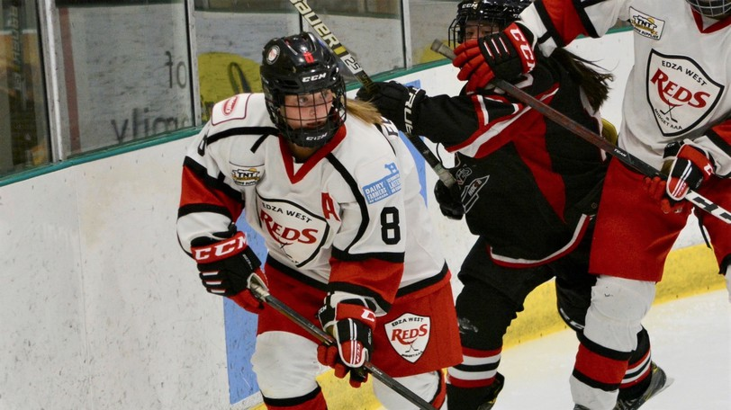 EDZA West TNT Reds' defender Nicole Ferguson skates behind the net in Maritime Major Female U18 Hockey League action against the EDZA East Moncton Rockets on Sunday at the Grant-Harvey Centre. The Reds won 1-0.