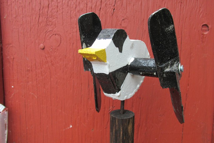 Columnist David Goss often hands out chickadee whirligigs, like this one pictured here, during his Walk 'n Talks. He says these handmade creations can now be found across the world.