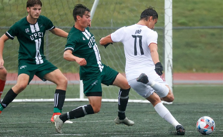 UNB's Luke Rosettani, the school's latest male athlete of the week, fires his first of two goals in the Reds' 2-1 win over UPEI on Sunday in Saint John.