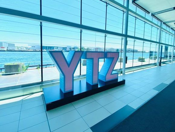 Billy Bishop Airport entrance with YTZ sign.