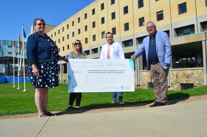 The Chaleur Regional Hospital Volunteers Auxiliary made a $50,000 donation toward a multi-sensory environment project at the Chaleur Regional Hospital. Pictured from left: Patricia Legacy, chairperson of the Chaleur Regional Hospital Volunteers Auxiliary, Melissa McKay, Extended Care Program resource nurse at the Chaleur Regional Hospital, Daniel Hachey, nurse manager Extended Care Program, and Danny Reagan, treasurer of the Chaleur Regional Hospital Volunteers Auxiliary. Absent is Edith Tribe, president of the Chaleur Regional Hospital Auxiliary Programs.