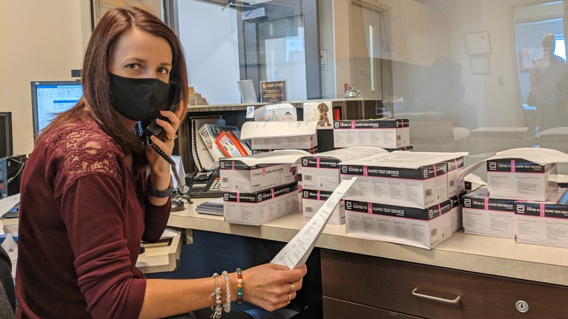 Natacha Pettigrew, Office Management Coordinator at the Chamber of Commerce for Greater Moncton, has been busy filling orders for rapid COVID-19 tests. The Moncton chamber has distributed more than 20,000 of them, while the Fredericton chamber has sent out more than 25,000.