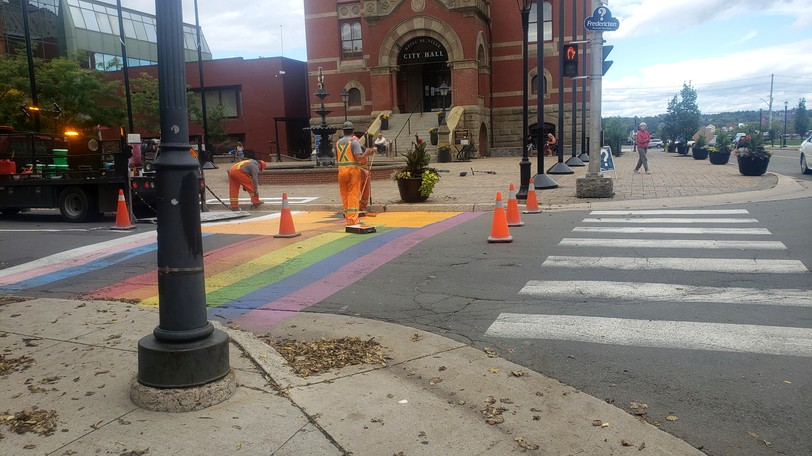 Two crosswalks on Queen Street, seen here, and on Maliseet Drive werepainted Mondaywith Indigenous symbols to mark Truth and Reconciliation Day on Sept. 30.
