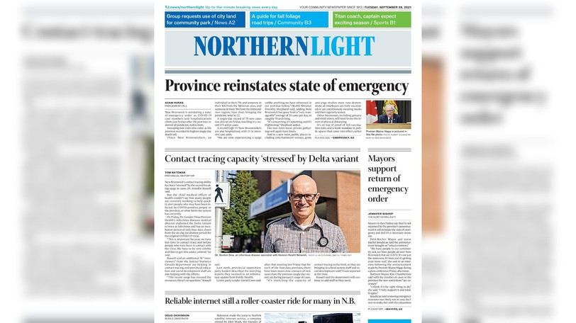 Pictured is the front page of the Sept. 28 edition of The Northern Light.