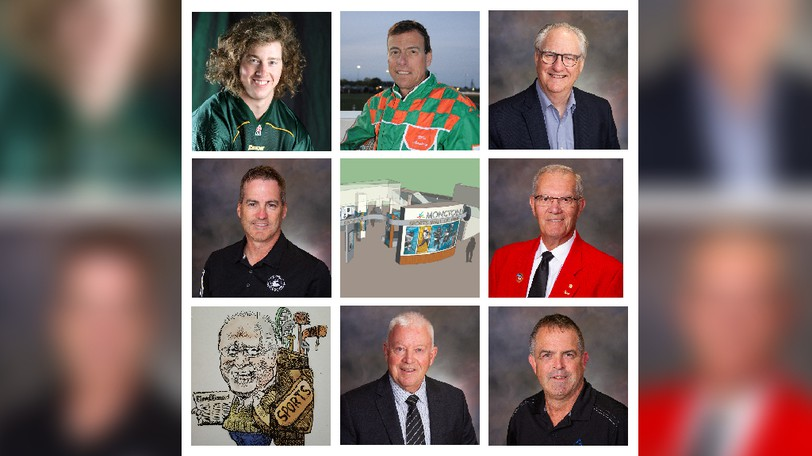 The 2021 inductees into the Moncton Sports Wall of Fame are, top row, from left: Jeremy Adam Steeves, Gilles Barrieau, and Lawrence Forbes. Middle row: Louis Melanson, Les Harrison. Bottom row: Gerard McLaughlin, Brian Rice, and Jeff Jones.