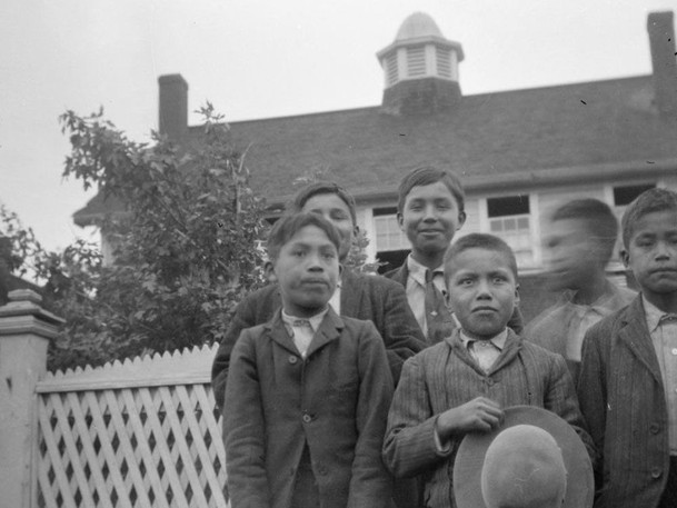 Students at Kamloops Indian Residential School, likely in a pre-1920s photo.