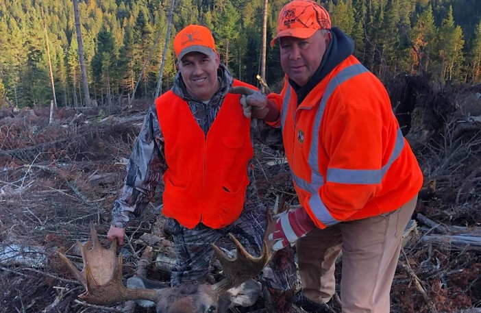 Luc Savoie, Ian Comeau and their hunting party nabbed this bull moose in the southeast during last week's five-day moose hunt. The bull, which had a dressed weight of 650 pounds, had a rack of 43.5 inches.