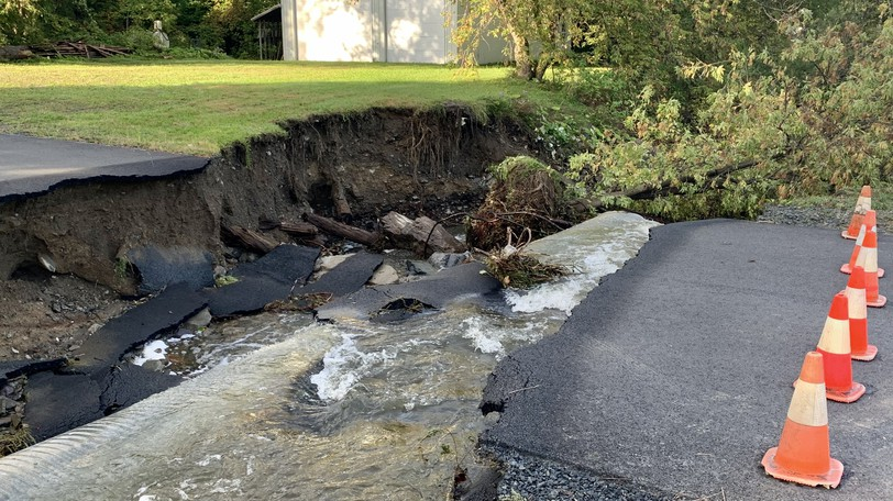 A section of Ethel Saunder's driveway on Route 585 in Grafton is entirely washed out after a storm on Sunday, Sept. 26 caused washouts along the road.