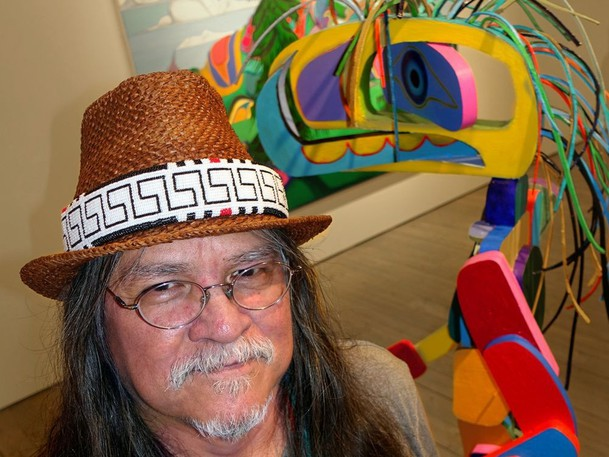 Cowichan/Syilx artist Lawrence Paul Yuxweluptun exhibited a $45,000 sculpture titled Opioid Ovoid Humanoid that seemed to move every time viewers briefly looked away in Vancouver's Macaulay Fine Art gallery in December 2019.